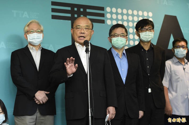 行政院長蘇貞昌今(8)日參訪TTA台灣科技新創基地,且接受媒體訪問。(記者叢昌瑾攝)