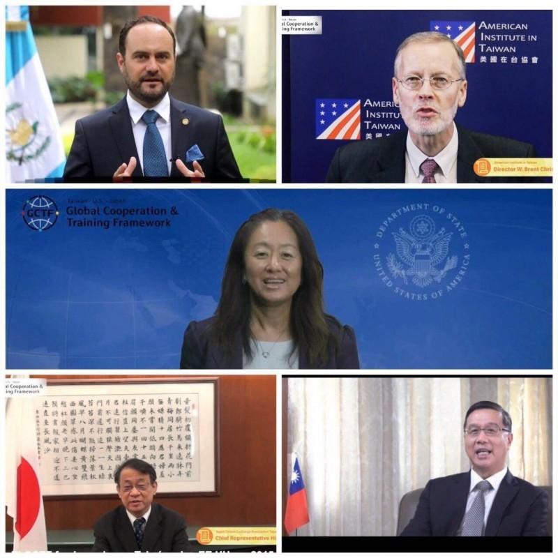 美國務院西半球事務局首席副助卿Julie Chung(中)、AIT處長酈英傑(右上)、瓜地馬拉外交部長布羅洛(左上)、外交部常次曹立傑(右下)、日本駐台代表泉裕泰(左下)出席首屆拉美與加勒比海地區GCTF活動致詞。(外交部提供)