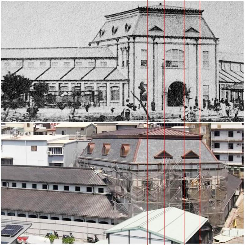 台南「西市場」古蹟修護,被質疑兩組三角形老虎窗位置與原貌相較,顯得不對稱,好像有點「鬥雞眼」。(文史工作者凌宗魁提供)