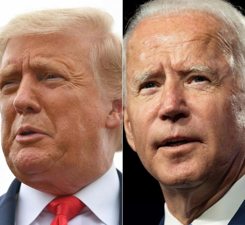 美國共和黨總統候選人川普(左)和民主黨候選人拜登(右),兩人都年逾七旬。(法新社)