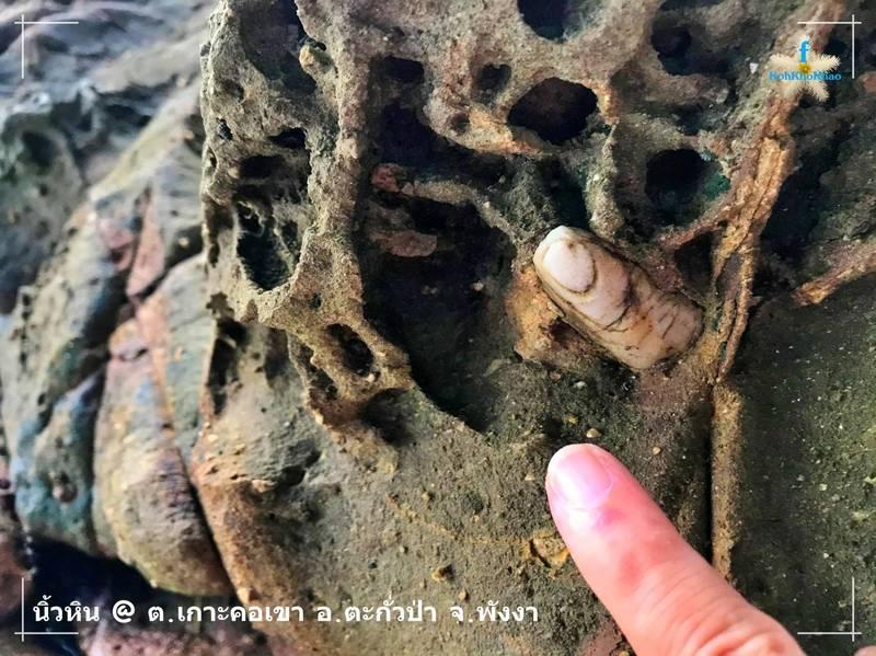 泰媒報導有民眾在攀牙府閣科考島北面發現,外型和人類手指一模一樣的「人指礁石」。(圖翻攝自「Mongkhol Lunsopha」臉書)