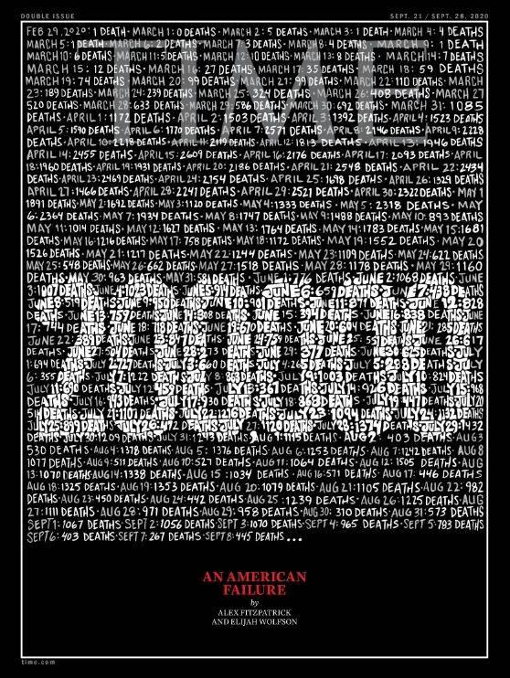 時代雜誌史上第二次出現黑邊封面,悼念武漢肺炎逝者。(圖擷取自官網)