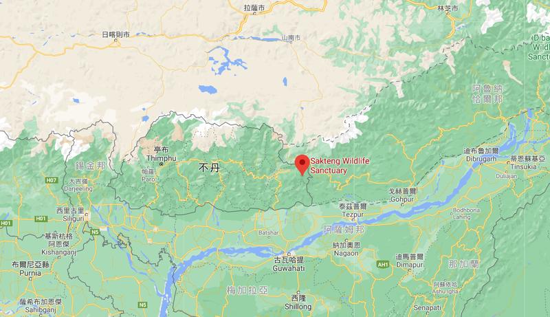 不丹的薩克滕野生動物保護區位置在中印兩大國間。(圖擷取自Google Map)