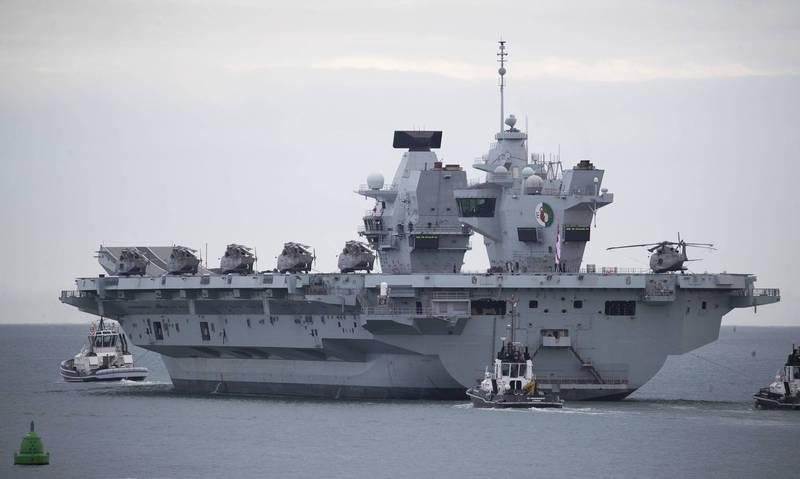 英國新銳航艦「伊莉莎白女王號從母港樸茨茅斯出發。(美聯社)