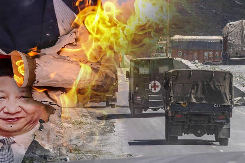 中印邊境軍事衝突持續數月。圖為行駛在拉達克地區公路上印度軍車。(本報合成)