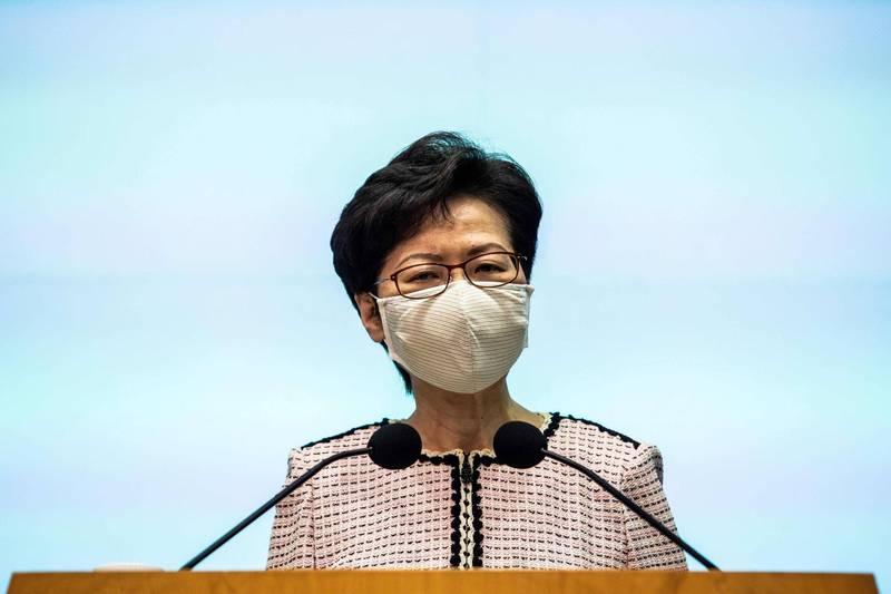 香港保安局指出,沒有收到台方截獲逃犯的任何訊息,並呼籲不要窩藏任何在香港涉嫌犯罪的罪犯,應將其遣返回港。圖為港首林鄭月娥。(法新社)