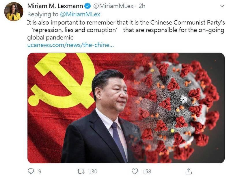 歐洲議會外交事務委員會委員列思曼(Miriam M. Lexmann)怒轟,中國壓制吹哨人噤聲,掩飾疫情嚴重性而導致全球疫情爆發,中國該為持續至今的這場疫情負起責任。(圖擷取自推特_@MiriamMLex)