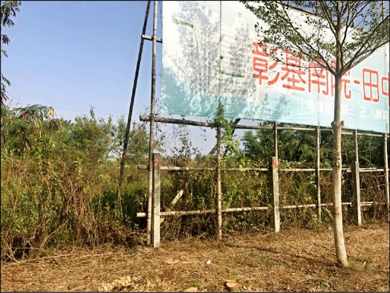 彰化基督教醫院田中分院至今仍荒蕪一片。(記者顏宏駿攝)