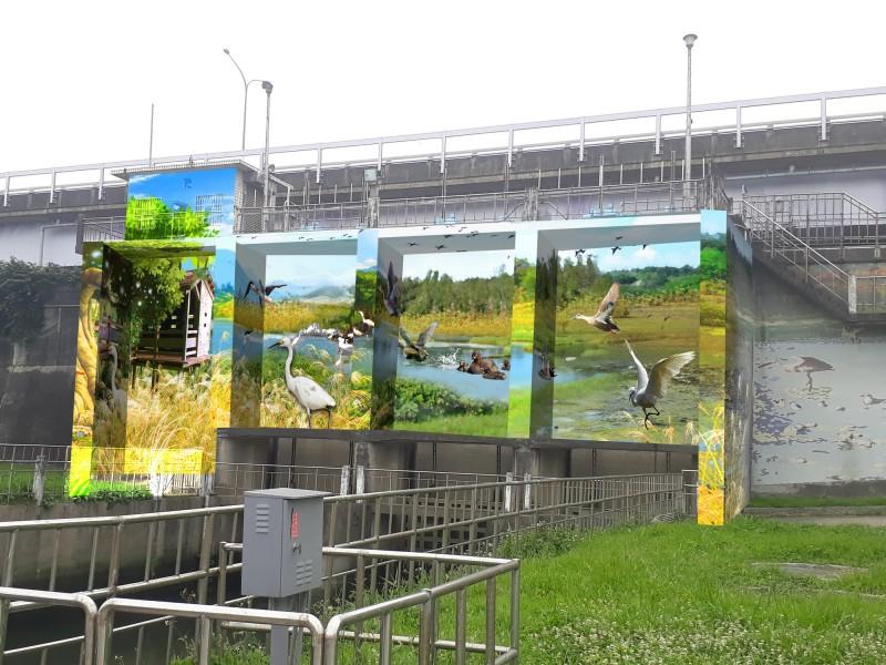 新北高灘處原計畫在8月底啟動的抽水站彩繪喊卡,圖為光復重力閘門呼應賞鳥主題的設計。(新北市政府提供)