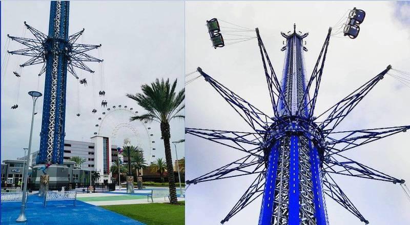 美國佛州知名主題樂園「ICON Park」一名21歲工作人員例行檢查時「世界最高急速鞦韆」,從半空中墜落底部平台,送醫急救後仍回天乏術。(圖擷取自Orlando Starflyer臉書)