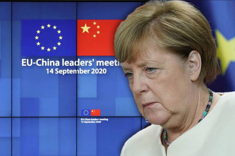中歐特別高峰會在昨天(14日)透過視訊的方式進行,但最終2個多小時的會談並沒有達成多少共識,習近平既沒有出席會後記者會也沒有發表聯合聲明。圖為德國總理梅克爾。(本報合成)