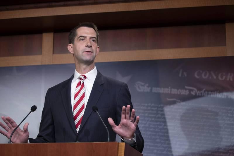 美國參議員柯頓(見圖)14日表示,將提案廢除中國永久性的「最惠國待遇」,改為每年重新評估。(法新社資料照)