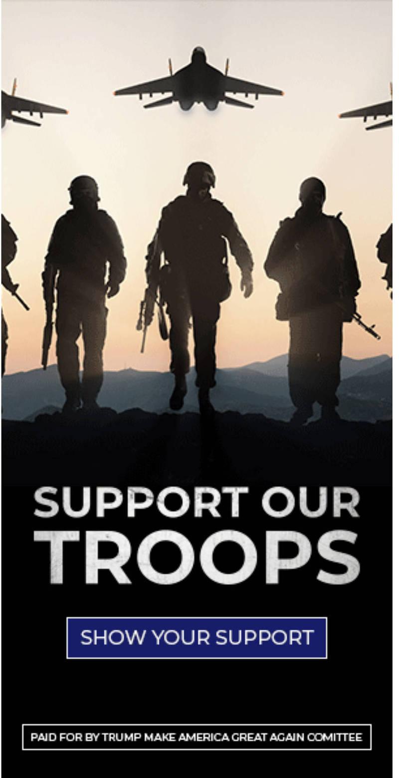 美國總統川普競選團隊日前刊登廣告,呼籲人民支持美軍。沒想到,卻被專家指出該海報背景中的軍機並非美國軍機,而是俄羅斯軍機的照片。(擷取自推特)