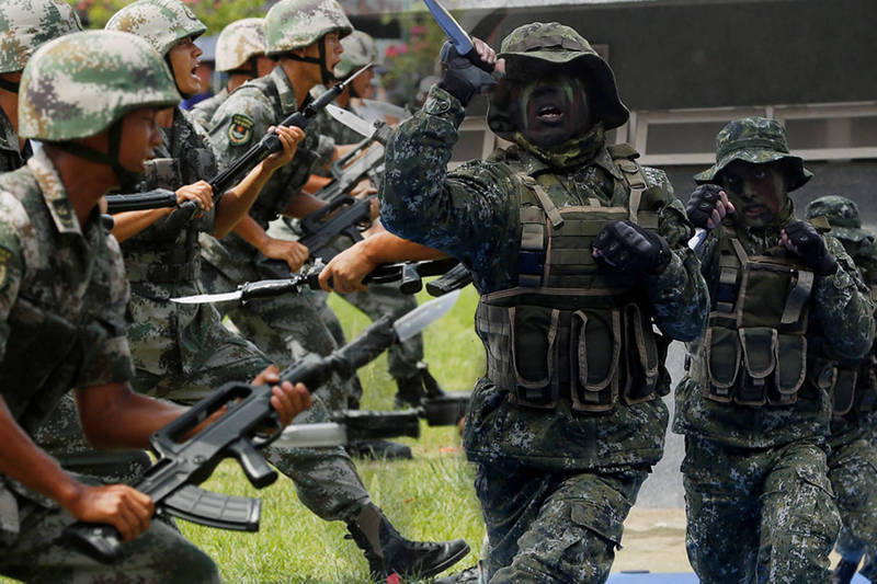 軍事專家指出,中國模擬攻台戰績為「6勝6平48敗」。(本報合成)