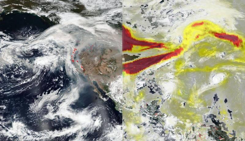 西海岸大火產生的煙霧及細懸浮微粒隨環境風場改變而吹向東岸,整個美國恐陷入對人體有害的煙霧中。(圖擷取自NASA)