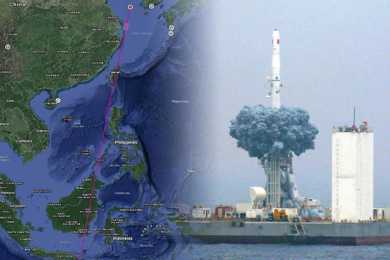 中國今天上午進行以海上基地發射長征火箭,要載運9顆衛星進入軌道,但中方在推文中特別標註「從中國台灣島上空飛過」,被視為極具挑釁意味的舉動。(圖捷自「CHINA航天」微博、路透資料照,本報合成)