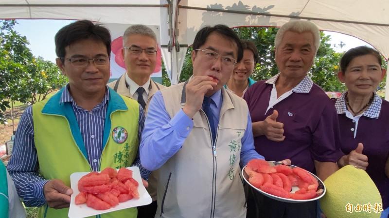 市長黃偉哲今天(前左二)推薦紅柚,大口品嘗讚不絕口。(記者楊金城攝)