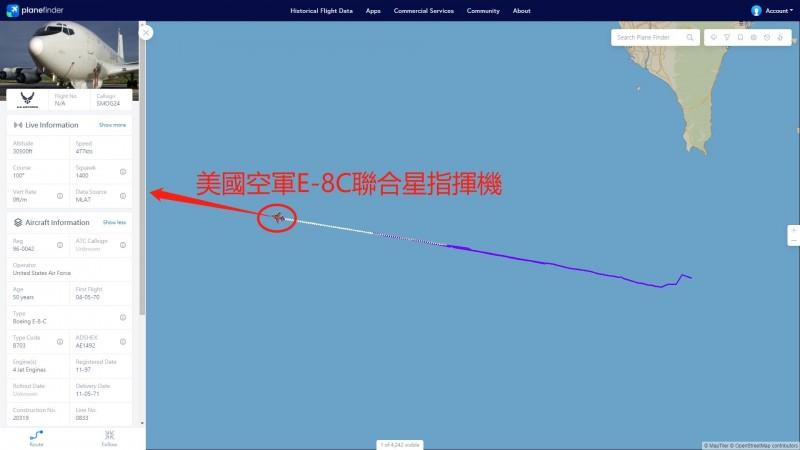 美國E-8C指揮機今早進入西南空域巡邏。(記者蔡宗憲翻攝)