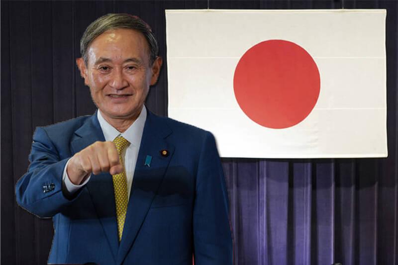 日本眾參兩院今天下午召開臨時會進行首相指名投票,自民黨總裁菅義偉在眾院指名投票獲314票過半數,獲指名為日本第99任首相。前為彭博,後為美聯社。(本報合成)