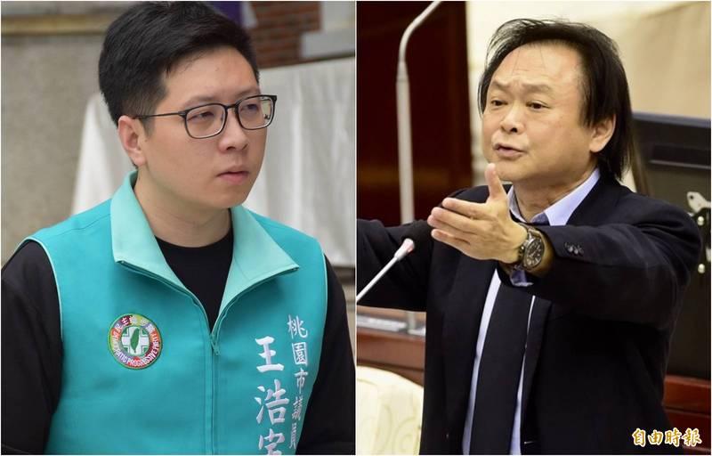 王浩宇(左)和王世堅(右)因陳時中日前與藝人詹雅雯登小巨蛋合唱槓上。(資料照合成圖)