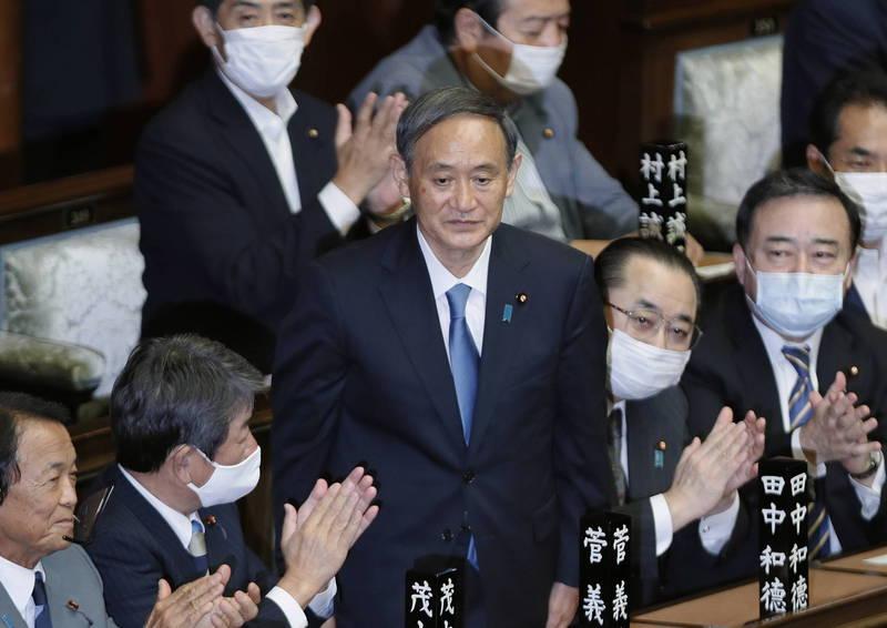 自民黨新任黨魁暨現任內閣官房長官菅義偉就任第99任首相。(歐新社)