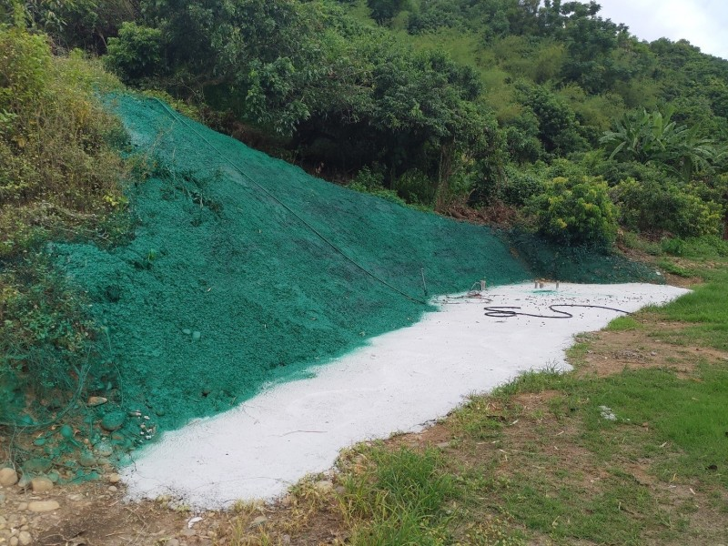 土地開發行為人在鋪設水泥的山坡地漆上綠色顏色的油漆。(縣府提供)