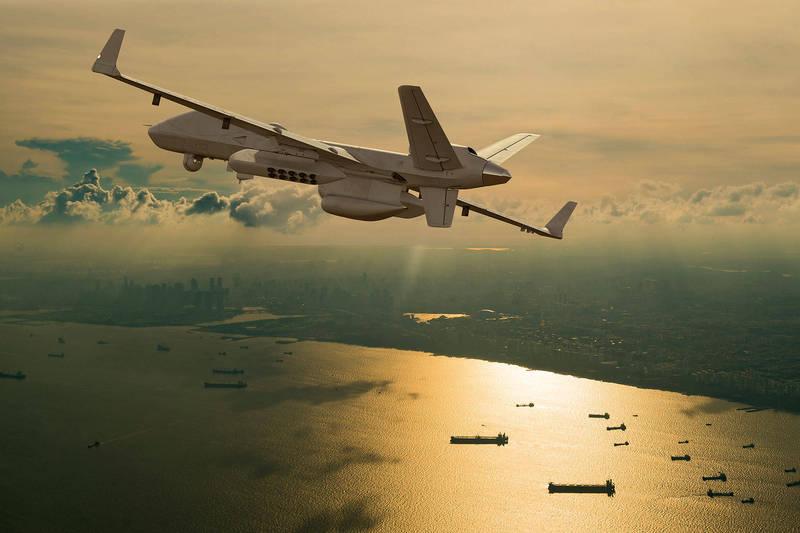 美國通用原子航空系統公司9月11日在南加州沿海進行了MQ-9B「海上衛士」大型無人機一系列的試飛,圖為MQ-9B「海上衛士」無人機。(擷取自通用原子航空系統公司官網)