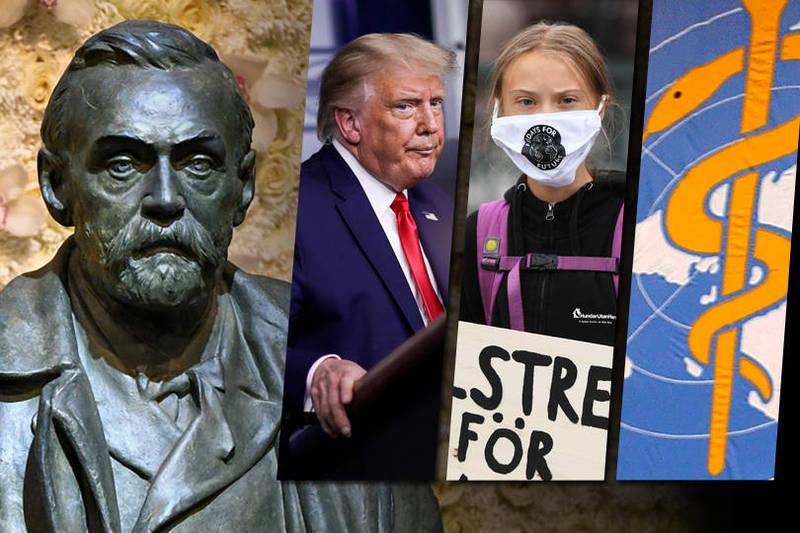 各界猜測今年諾貝爾和平獎獎落誰家,美國總統川普(左)、瑞典環保少女桑伯格(中)、世界衛生組織(右)都在討論之列。(美聯社、路透,本報合成)
