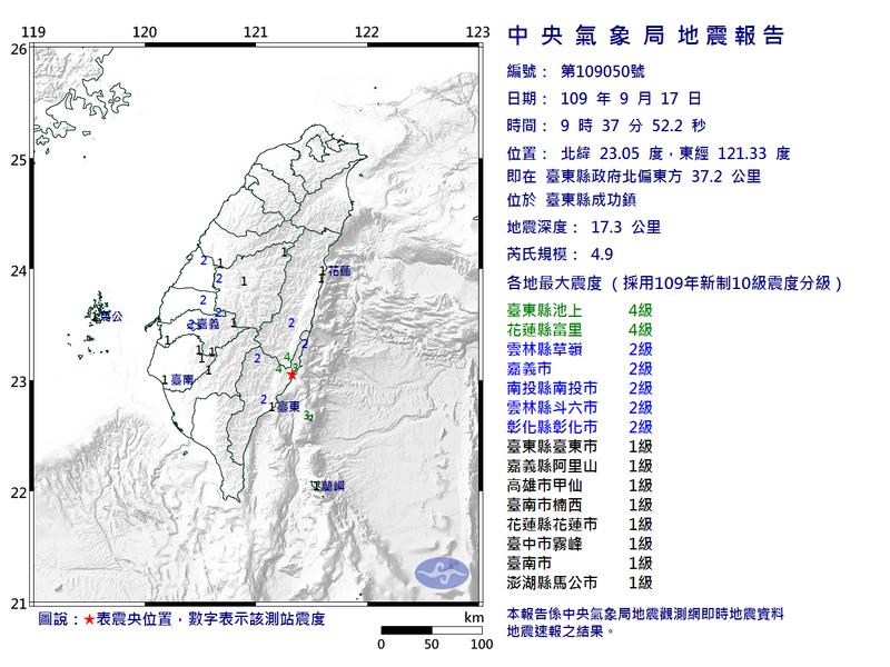 今(17日)上午9時37分台東發生規模4.9地震,東部地區最大震度達4級。(圖擷自中央氣象局)