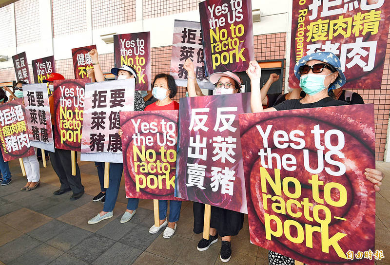 People hold placards outside Taipei International Airport (Songshan airport) yesterday to protest against US pork imports as a delegation led by US Undersecretary of State for Economic Growth, Energy and the Environment Keith Krach arrived in Taipei for a three-day visit. Photo: Liao Chen-huei, Taipei Times