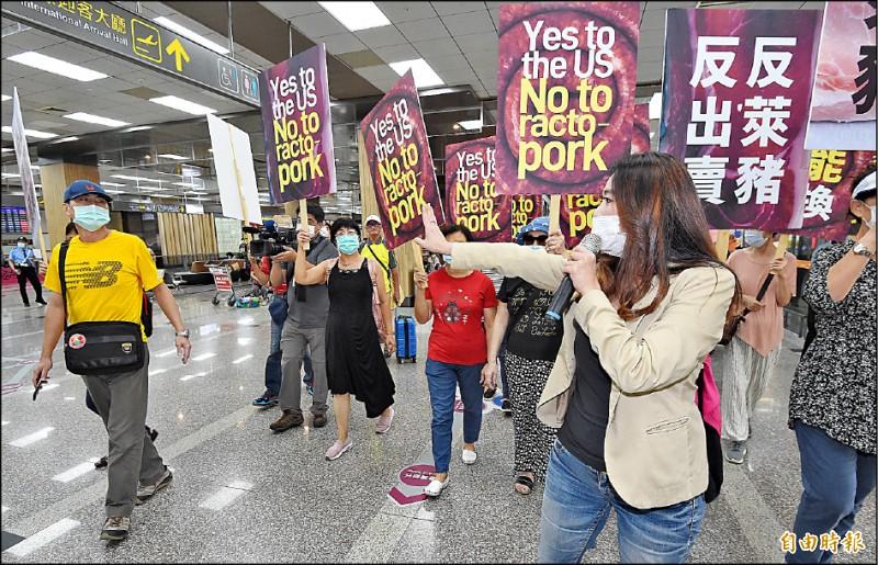 美國國務次卿柯拉克昨抵台,國民黨台北市議會黨團總召陳重文、應曉薇等人與民眾去松山機場「接機」抗議,進入大廳訴求時,有旅客(左)不滿反嗆。(記者廖振輝攝)