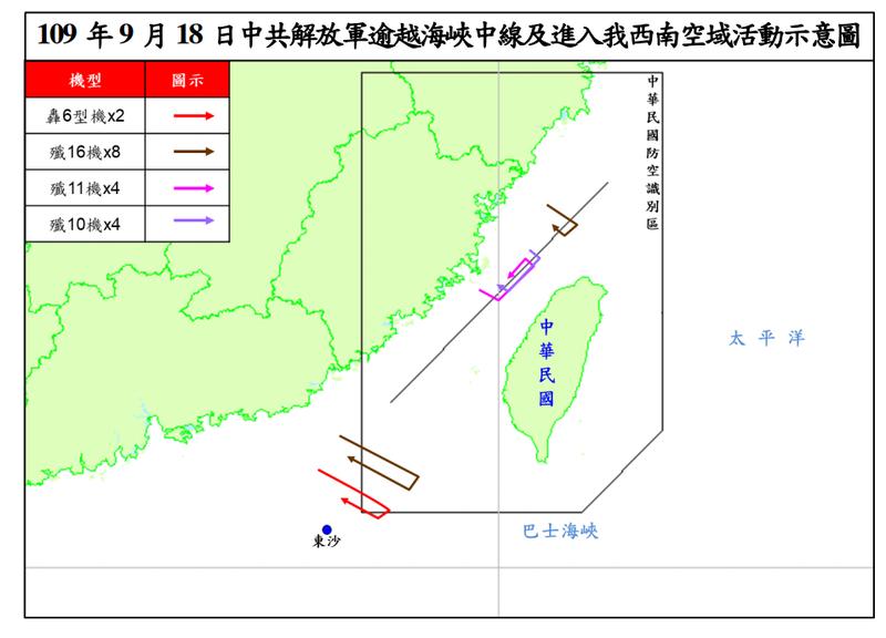 中國軍機今天有18架侵擾我空域,部分還越過中線。(圖:國防部提供)