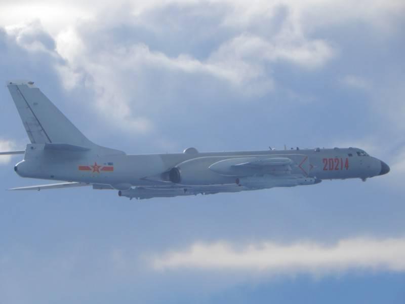 國防部公布今日侵擾我國空域的轟六轟炸機照片。(國防部提供)