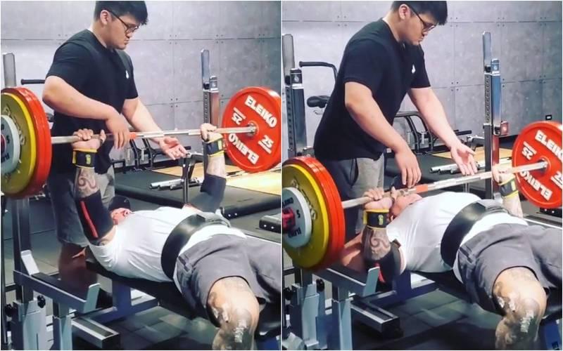 館長今日PO出中槍後首次臥推160公斤的影片。(圖擷自臉書)