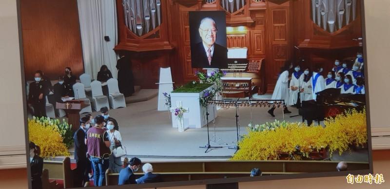 李登輝前總統的追思告別禮拜上午在淡水真理大學大禮拜堂舉行,圖為告別禮拜現場。(記者李欣芳攝)