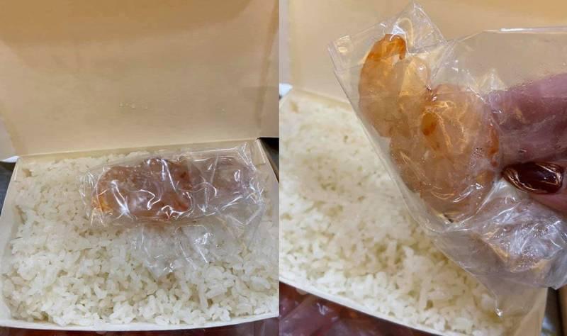 有網友發文分享,她在外送平台上點了蝦仁炒飯,未料打開只見一整盒白飯加上4隻生蝦仁,讓她超級傻眼,照片曝光立刻引發網友熱議大笑。(圖擷取自臉書「爆廢公社公開版」)