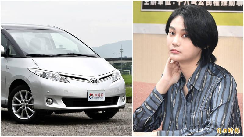 民進黨立委賴品妤(右)所購入的TOYOTA Previa七人座車款(右)。(資料照合成圖)