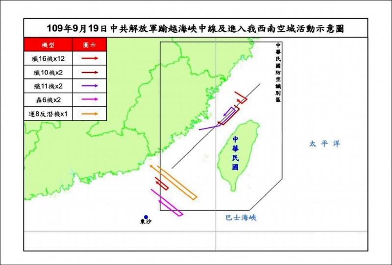 中國軍機昨又越過台海中線襲擾我空域,國防部主動揭露,共有殲十六、殲十(等十九架軍機侵擾台灣,並公布航跡示意圖。(國防部提供)