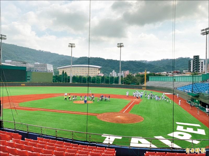 台北興富發棒球隊在天母棒球場舉辦棒球體驗營,參加的國小學童搶先體驗人工草皮棒球場。(記者蔡亞樺攝)