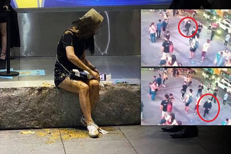 21歲邱姓女子昨晚在台北市信義區威秀影城中庭,遭黑衣口罩男以整桶糞水淋下。(本報合成)
