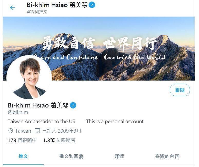 我駐美代表蕭美琴個人推特帳號簡介修改為「Taiwan Ambassador to the US(台灣駐美大使)」,引起熱烈討論。(翻攝蕭美琴推特)