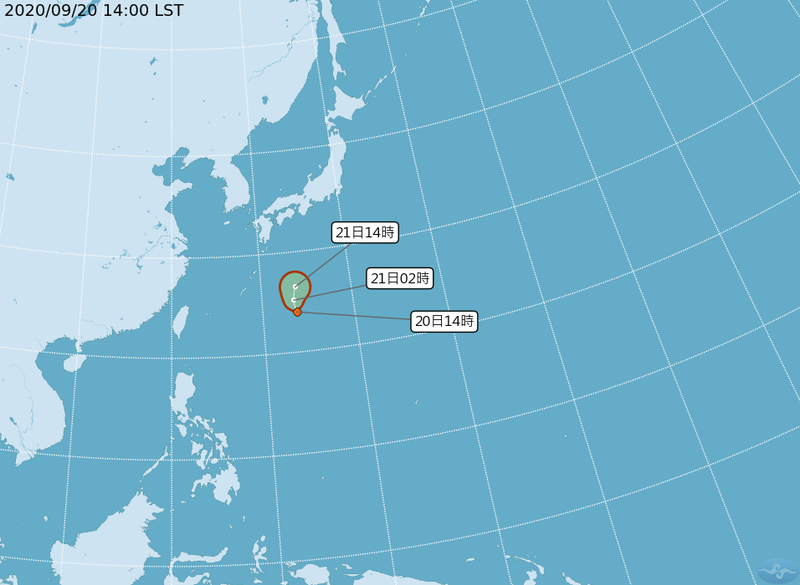 氣象局表示,今天下午日本南方海面有一熱帶性低氣壓生成,不過因為緊鄰鋒面,預估路徑將偏北方向移動,對台灣無太大影響。(記者蕭玗欣翻攝)