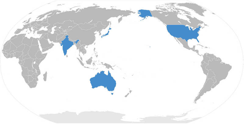 美國、日本、澳洲以及印度所組成「四方安全對話」,有消息傳出將在今年10月於東京召開第2次外長級會談,預料會談焦點會集中在中國西太平洋擴張的行為。(圖擷取自維基)