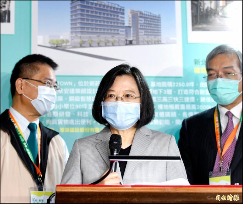 總統蔡英文昨批評,中國近日軍事活動如一般所說的「文攻武嚇」,而「這不就是武嚇嗎」?(記者方賓照攝)