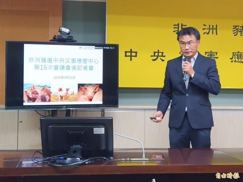 農委會主委陳吉仲說明非洲豬瘟防疫措施。(記者簡惠茹攝)
