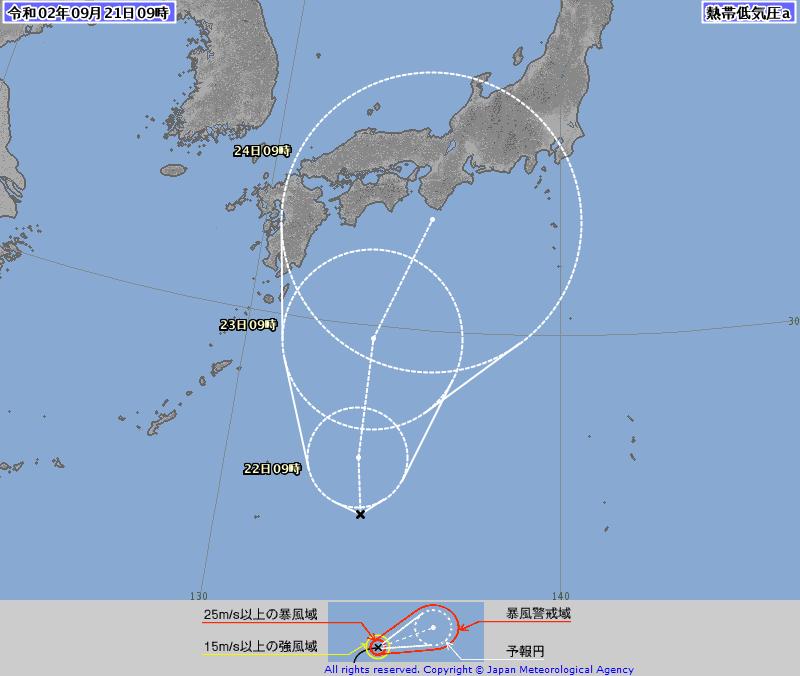 目前位於日本南方海域的熱帶低壓最快今天增強為第12號颱風「白海豚」,未來朝日本本州一帶接近。(圖擷自日本氣象廳)
