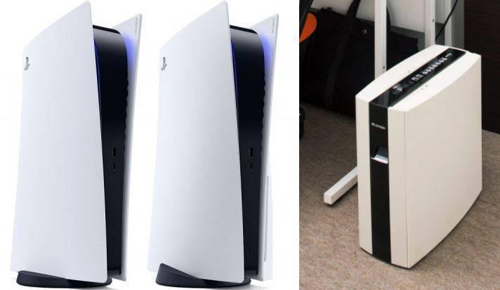 日本廠商一款碎紙機(右)由於外型及型號和PS5(左)十分相似,讓官方對此發出聲明,搞笑提醒「放入光碟片就會被絞碎」。(左業者提供,右取自「Iris Ohyama」推特,本報合成)