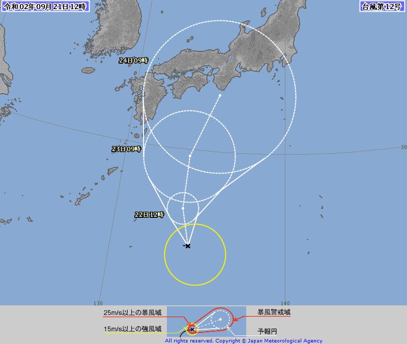 第12號颱風「白海豚」中午生成,未來向東北轉彎朝日本關西一帶接近。(圖擷自日本氣象廳)