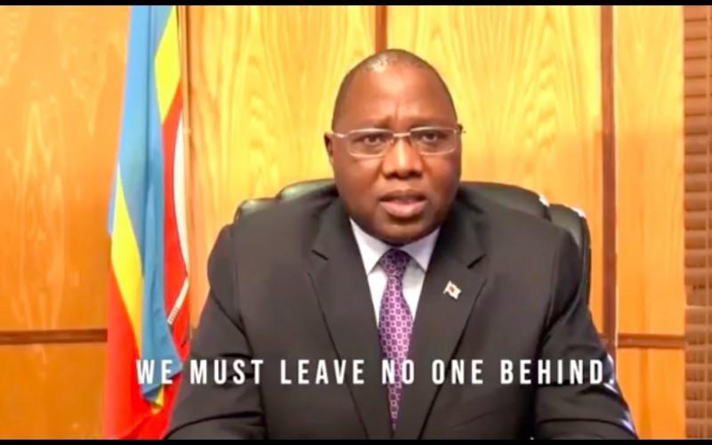 非洲友邦史瓦帝尼總理戴安伯(Ambrose Dlamini)在「聯合國成立75週年紀念高階會議」中率先替台灣發聲,呼籲聯合國納入台灣。(翻攝自影片)