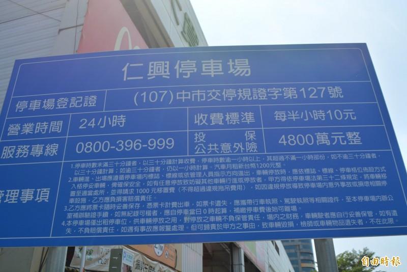 大里區公所政風室查出,大里仁興(見圖)等4座停車場雖標示收費標準,業者卻超收,未依契約收費。(記者陳建志攝)